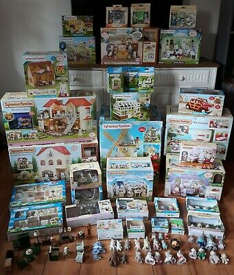 Sylvanian Families Huge Lot Houses, Windmill, Restaurant, Boutique, Doctor,Car!