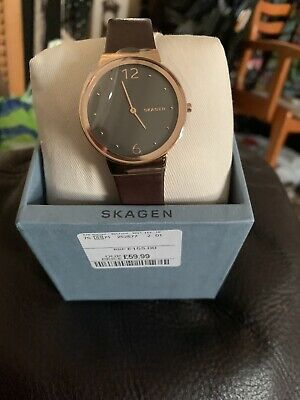 skagen ladies watch Brown Leather Strap