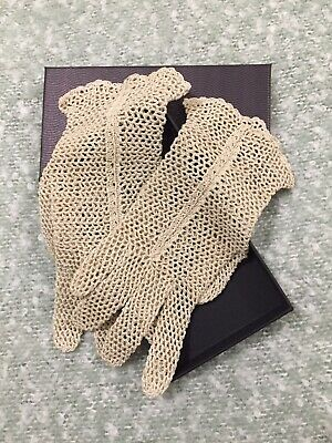 Vintage Crochet Gloves Beige Circa 1950's Small Size 6.5 to 7