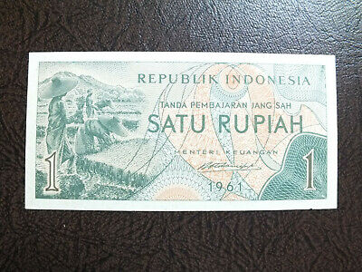 Indonesia 1 Rupiah 1961 Rice Field Unc Bank Note.