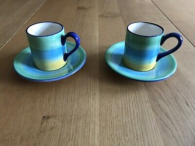 """Hand Made Espresso Cup And Saucers Set Of 2 """"Ocean"""""""