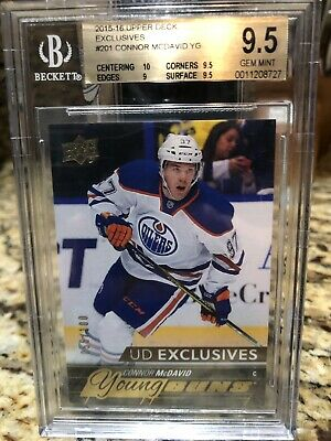 CONNOR MCDAVID 2015-16 Upper Deck Young Guns Exclusives #201 RC /100 BGS 9.5 Gem