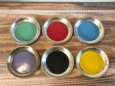 Towle Sterling Silver Enamel COASTER SET OF 6 Bright Colors Mid-century MCM
