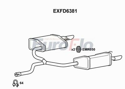 Exhaust Back / Rear Box EXFD6381 EuroFlo 1523779 Genuine Top Quality Replacement