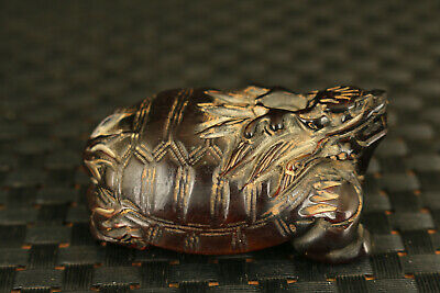 Chinese old yak horn hand carving Dragon Turtle statue collectable decoration