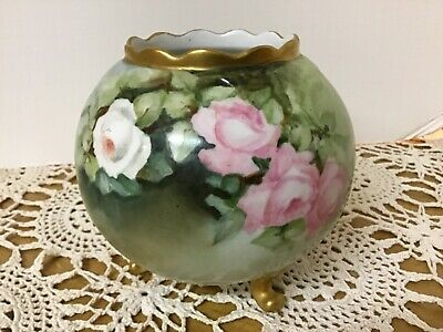 Antique Art Pottery Hand Painted Vienna Austria Roses, Footed Rose Bowl