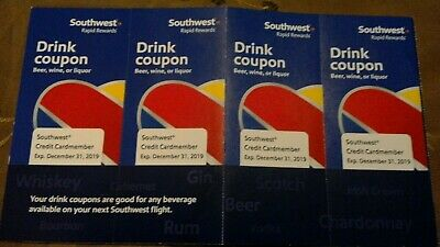 4 Unused Southwest Airlines Drink Coupons - Expire Dec 31, 2019