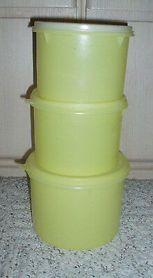 6 Pc Vintage TUPPERWARE Nesting Canister Set~Yellow~#263, 264