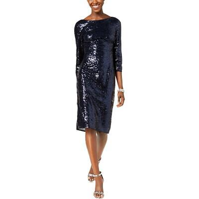 Adrianna Papell Womens Navy Sequined Party Sheath Cocktail Dress 6 BHFO 9752
