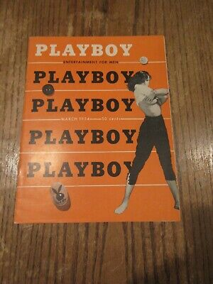 March 1954 Playboy Magazine In Very Good Condition.... Vibrant Front Cover!