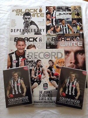 16 COLLINGWOOD FOOTBALL CLUB BOOKS & MAGAZINES & 2 DVDs Bulk Lot!