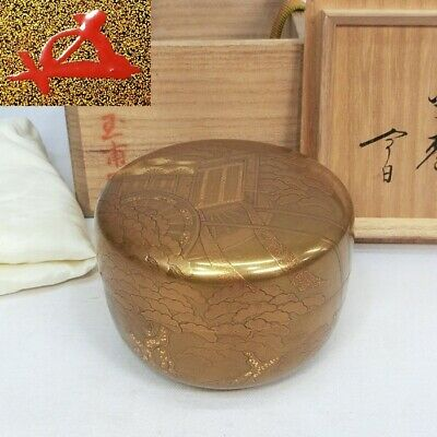 E499: Finest Japanese lacquer ware tea container with great HOUNSAI's appraisal.