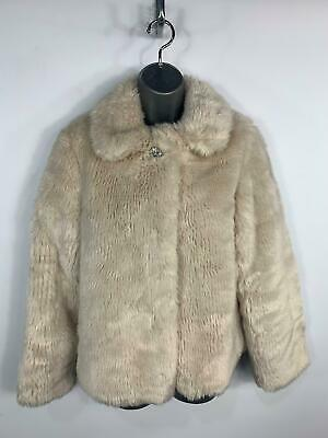 Girls Marks&Spencer Cream Evening Party Fancy Faux Fur Coat Kids Age 13/14 Years