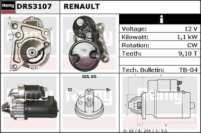 RENAULT EXTRA 1.4 Starter Motor 91 to 97 Remy 7701853827 7701351772 7700853827