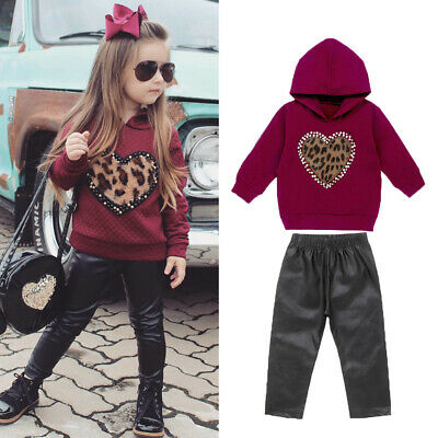 Kids Baby Girl Winter Clothes Leopard Heart Hooded Tops Leather Pants Outfit Set