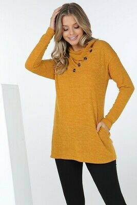Cowl Mock Neck Long Sleeve Tunic Top With Pockets And Button Trim