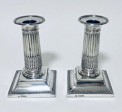 Pair Quality Antique Victorian Solid Sterling Silver Column Candlesticks 1898