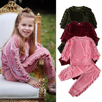 2PCS Autumn Kids Baby Girl Clothes Velvet Ruffle Tops+Trousers Outfit Tracksuit