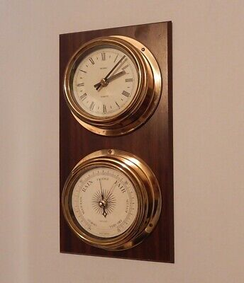 Superb Metamec Quartz Ships Type Clock & Barometer On Mahogany Plaque
