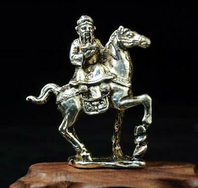 Chinese handmade cooper-plating silver horse and god wealth statue
