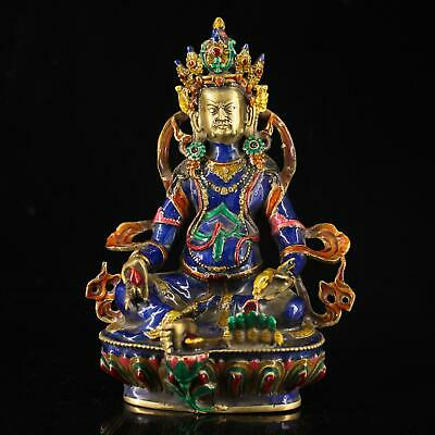 china handmade cloisonn Copper enamel colored drawing Buddha antique statue f01J