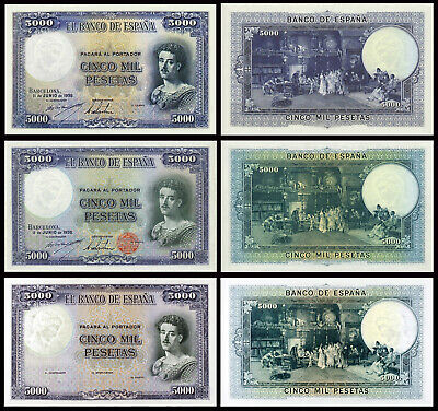 Facsimil Billete 5000 Pesetas de 1938 tres versiones NE - Reproductions
