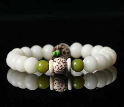 China White jade bodhi Hand Carved 10MM Circle Bead Buddha Beads Bracelet /A 02J