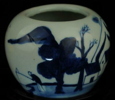 china old blue white porcelain hand painted landscape vase brush washer/Db01J