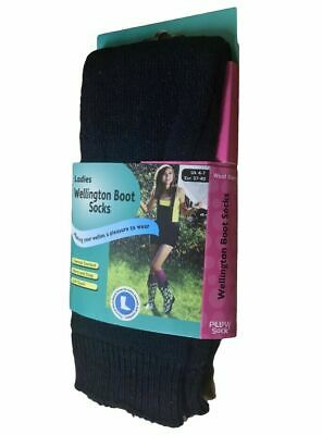 6 /12 Pairs Ladies Girls Wool Blend Thermal Wellington Welly Boot Navy Socks 4-7