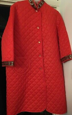Vintage Brentford Nylons -1960's quilted Red Nylon dressing gown/house coat Xmas