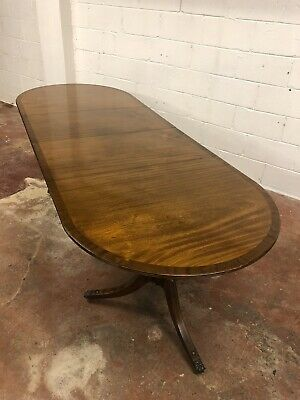 Antique Twin Pillar Mahogany Extending Dining Table With Beautiful Brass Inlaid