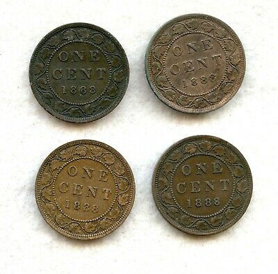 Canada  ~ 1888 ~ Large Cent Lot ~ Ch Vf ~ 4 Coins