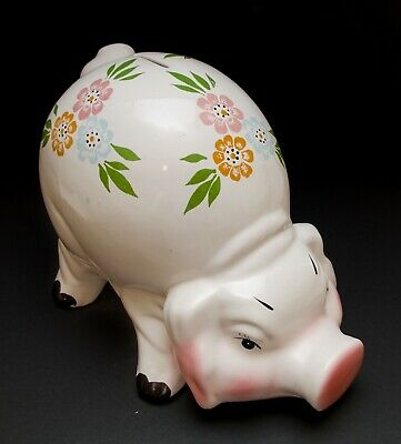 Vintage Ceramic Floral Large Pig Piggy Bank Swine Hand Painted Made in Romania