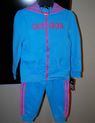 Adidas girls aqua color hooded 2 piece active wear set size 2T $54 price NWT