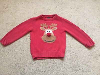 Next Rudolph Reindeer Childrens Boys/girls Christmas Jumper 3 Years