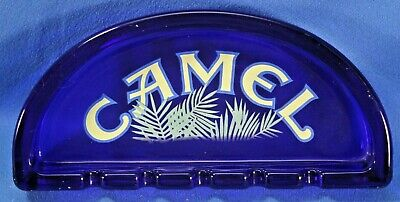 "Vintage Camel Cigarette Collectible Cobalt Blue Glass Ashtray - 7 7/8"" Across"