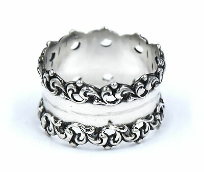 Antique Art Nouveau Fancy Napkin Ring Scrolling Ornate Sterling Silver #107