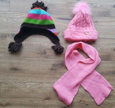 Bundle x 2 Gap Girls Hat and Scarf Green Pink  Brown Size S/ M age 3-5 years