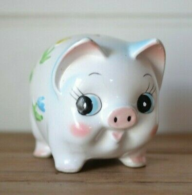 Vintage  kitsch ceramic piggy bank pig money box figurine