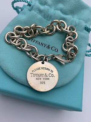 """Authentic Return To Tiffany&co Sterling Silver Circle Tag Bracele 7.5"""" NoReserve"""