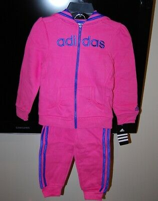 Adidas girls pink color hooded 2 piece active wear set size 5 $54 price tag NWT