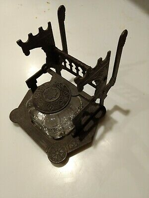Antique EASTLAKE CAST IRON single INKWELL VICTORIAN INK STAND w/GLASS bottle