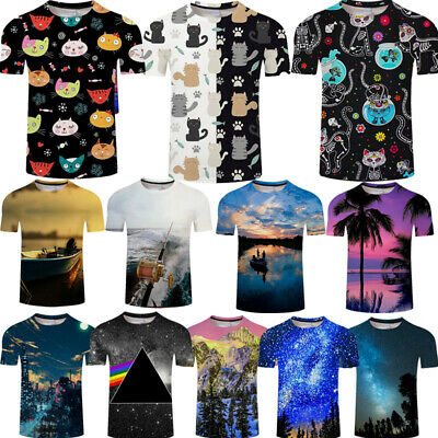 3D T-Shirts Cat Scenery Printing Men Summer Crew Neck Short Sleeves Tops Tees