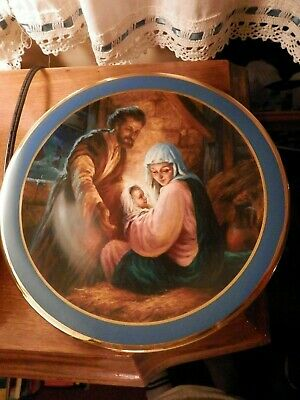 Holy Family limited Nativity plate Jesus, Mary and Joseph priest estate