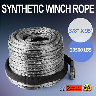 """3/8"""" X 95' Winch Synthetic Line Cable Rope 20500 LBs Recovery W/ Thimble Sleeve"""