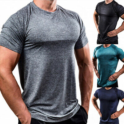 Mens Slim Fit O Neck Short Sleeve Muscle Tee Shirts Casual T-shirt Tops Blouse