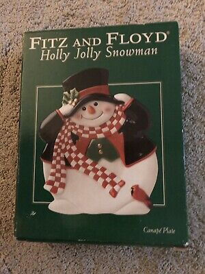 Fitz And Floyd Holly Jolly Snowman Christmas Winter Holiday Canape Plate NEW NIB