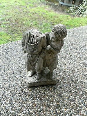 1950's ANTIQUE/VINTAGE CEMENT CONCRETE GARDEN STATUE FIGURINE GIRL HEADLESS BOY
