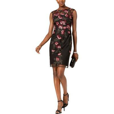 Adrianna Papell Womens Black Embroidered Floral Mini Cocktail Dress 6 BHFO 3617