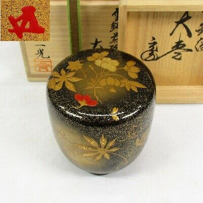 E477: Highest-class Japanese lacquered tea container w/great HOUNSAI's appraisal